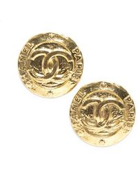 Chanel Gold Cc Button Clip On Vintage Earrings - Lyst