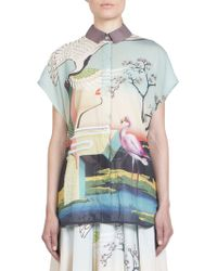 Mary Katrantzou Flamingo-Print Cotton Shirt - Lyst