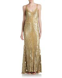 Theia Toni Chevron-Pattern Embellished Metallic Gown - Lyst
