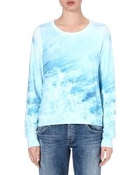 Wildfox Sandbar Waveprint Sweatshirt Blue - Lyst