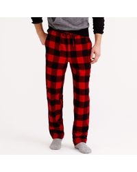 J.Crew Flannel Pajama Pant in Buffalo Check - Lyst