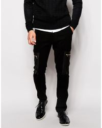 Asos Skinny Joggers In Soft Touch Fabric With Cargo Pockets - Lyst