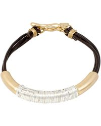 Robert Lee Morris - Spun Metal Two-tone Leather Bracelet - Lyst