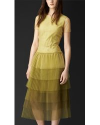 Burberry Pleated Tulle T-Shirt Dress yellow - Lyst