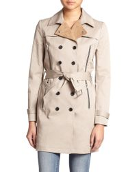 The Kooples Leather-Collar Stretch-Cotton Trench Coat - Lyst