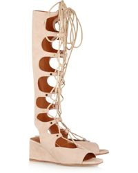 Chloé Cutout Suede Wedge Sandals - Lyst
