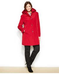 CALVIN KLEIN 205W39NYC - Plus Size Hooded Single-Breasted Raincoat - Lyst
