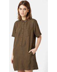 Topshop Relaxed Shirtdress green - Lyst