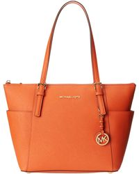 Michael by Michael Kors Jet Set Saffiano Top Zip Tote - Lyst