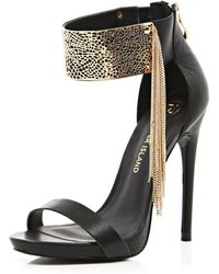 River Island Black Metal Cuff Barely There Sandals - Lyst