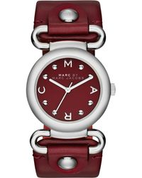 Marc By Marc Jacobs Womens Molly Cabernet Red Leather Strap Watch 30mm - Lyst