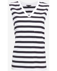 Theory Striped Elastic Band Side Cut Out Tank - Lyst