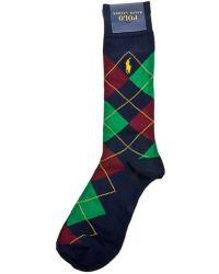 Ralph Lauren Blue Label Argyle Trouser Sock 3-Pack blue - Lyst