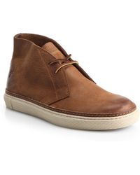 Frye Gates Raw Leather Chukka Boots brown - Lyst