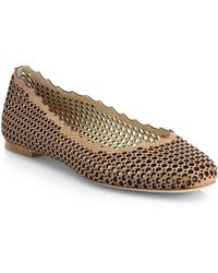 Chloé Leather Scalloped Ballet Flats - Lyst