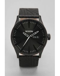 Nixon The Sentry Shadow Leather Watch - Lyst