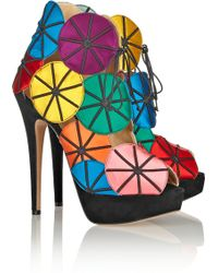 Charlotte Olympia Parasol Embroidered Satin and Suede Platform Sandals - Lyst