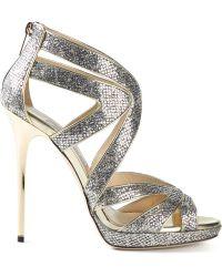 Jimmy Choo Gold Collar Sandals - Lyst