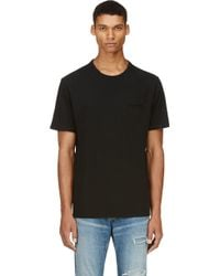T By Alexander Wang Black Distressed Jersey Slub T_shirt - Lyst