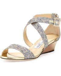 Jimmy Choo Chiara Glitter Demi-wedge Sandal - Lyst