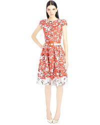 Oscar de la Renta Cut Flower Print Stretch Cotton Dress - Lyst