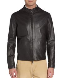 Giorgio Armani Perforated Leather Bomber Jacket - Lyst