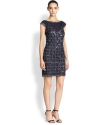 Kay Unger Beaded Cap-sleeve Dress - Lyst