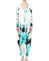 Roberto Cavalli Silk Featherprint Kaftan Turq - Lyst