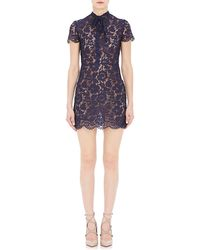 Valentino Short-Sleeve Lace Dress - Lyst