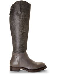 Brunello Cucinelli Grey Textured Riding Boots - Lyst