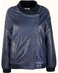 Hide - The Karen Blue Leather Padded Bomber Jacket By - Lyst