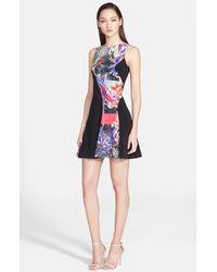 Versace Graffiti Print Colorblock Dress - Lyst