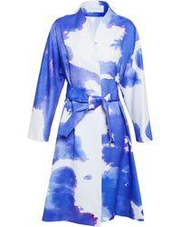 OSMAN Belted Cloud Print Coat blue - Lyst