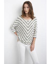 Velvet By Graham & Spencer Hayata Crochet Cotton Stripe Dolman Top white - Lyst