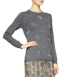 Lela Rose Cashmere-Blend Feather Beaded Sweater - Lyst