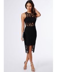 Missguided Harper Lace Binded Midi Dress Black - Lyst