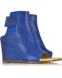 MM6 by Maison Martin Margiela Blue Leather Wedge Ankle Boot - Lyst
