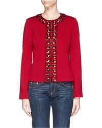 St. John Embellished Milano Knit Jacket - Lyst