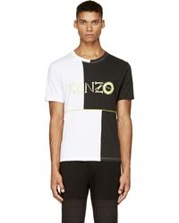 Kenzo Black and White Colorblocked Monster T_shirt - Lyst