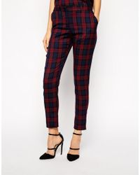 Oasis Purple Check Trouser - Lyst