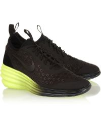Nike - Lunarelite Sky Hi Canvas and Suede Wedge Trainers - Lyst