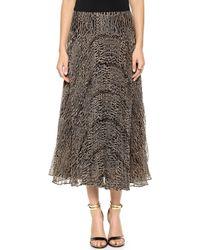 Nanette Lepore Long Pleated Skirt  Caramel - Lyst