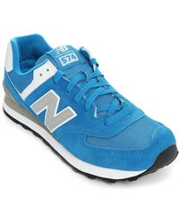 New Balance | blue 574 Blue Silver Mesh And Suede Sneakers | Lyst
