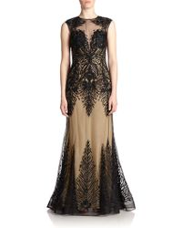 Basix Black Label Embroidered Illusion Gown - Lyst