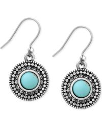 Lucky Brand Silver-Tone Reconstituted Turquoise Drop Earrings - Lyst