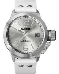 Tw Steel Unisex Canteen White Silicone Strap Watch 45mm Tw535 - Lyst