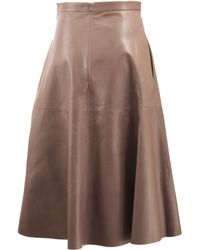 Valentino Long Leather Flare Skirt - Lyst