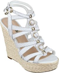 Guess - Onixx Leather Wedge Sandals - Lyst