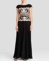 Tadashi Shoji Gown - Cap Sleeve Neoprene Sequin Lace Bodice black - Lyst
