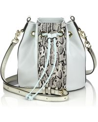 Rebecca Minkoff Sydney Snake-Embossed Leather-Paneled Bucket Bag - Lyst